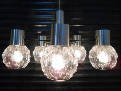 Vintage Design Hanglamp Chroom met 5 Glazen Kelken 1