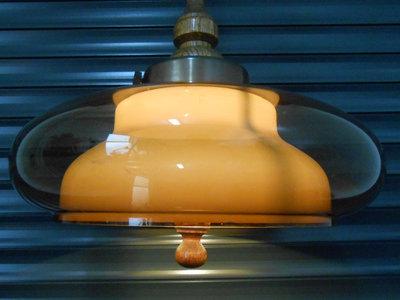 Jaren 70 Plexiglas Hanglamp met houten greep 1